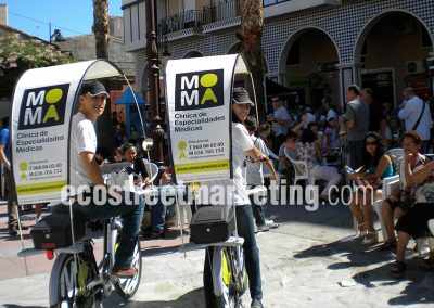 Street marketing utilizando bicicletas publicitarias