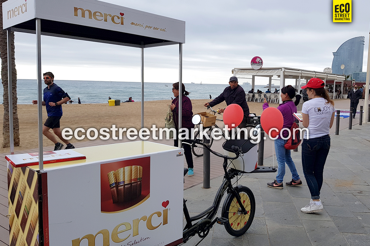 Eco Street Marketing Foodbike sampling producto eficaz en Barcelona